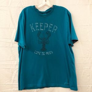 Life Is Good Blue Lobster Keeper Crew Neck Tee